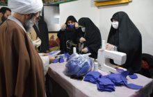 بازدید نماینده ولی فقیه در گیلان از کارگاه تولید ماسک بهداشتی یک گروه جهادی در رشت+ تصاویر