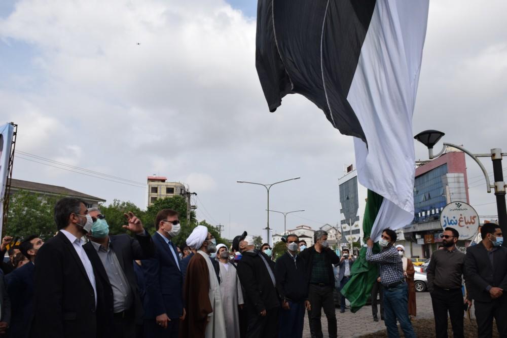 اهتزاز پرچم فلسطین در رشت با حضور نماینده ولی فقیه در گیلان